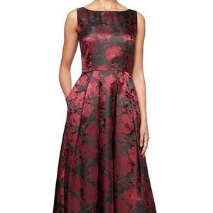 Alex Evenings Black Floral Printed Gown